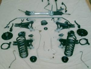éléments suspension sablés et peints